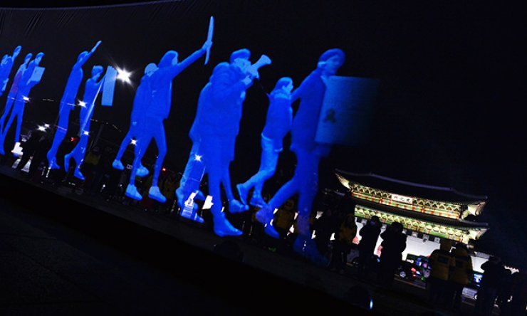 A 'ghost rally' using holographic images / Korea Times photo by Shim Hyun-chul