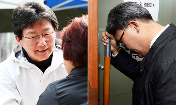In the left photo, Rep. Yoo Seong-min who is running for re-election in Daegu Dong B as an independent candidate greets a voter, Friday. Lee Jae-man of the ruling Saenuri Party, who sought to compete with Yoo in the district, is seen discouraged in front of the office of party Chairman Kim Moo-sung in the right photo after the party decided not to give him a ticket. / Yonhap