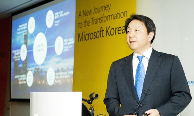 Microsoft Korea CEO Al Koh answers questions during a press conference with local media at the company's headquarters in Seoul, Wednesday. / Courtesy of Microsoft Korea