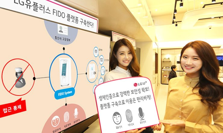 LG Uplus models promote the company's plan to launch an integrated personal authentication platform based on the international standard Fast Identity Online (FIDO). / Courtesy of LG Uplus