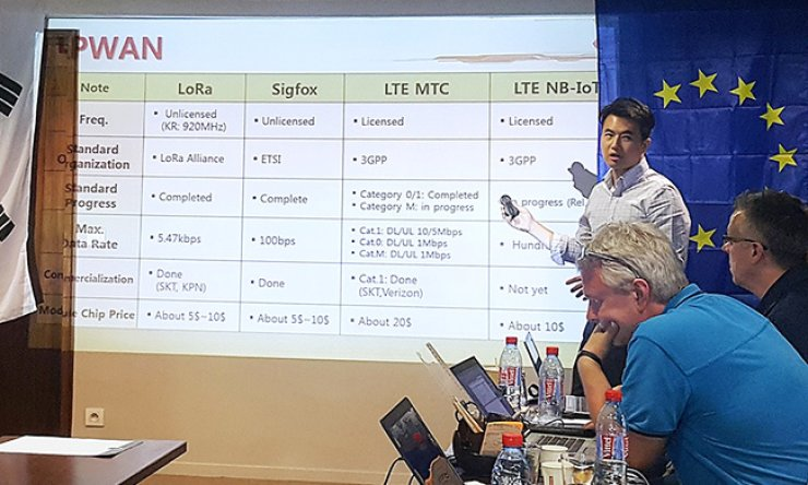An SK Telecom official introduces the company's nationwide LoRa Internet of Things network during a meeting of mobile carriers and IT firms in Nice, France, Thursday. / Courtesy of SK Telecom