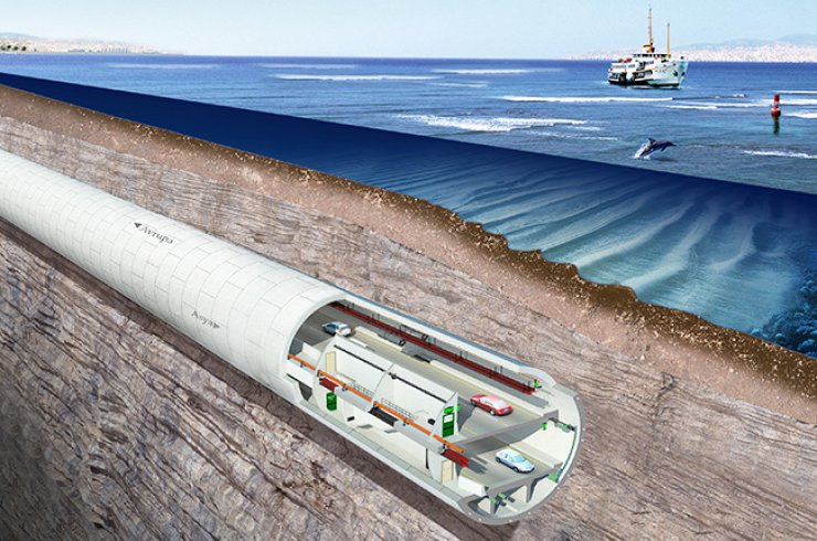 Shown above is a model picture of SK E&C's Eurasia Tunnel, which connects Europe and Asia across the Bosphorus strait of Istanbul. / Courtesy of SK E&C