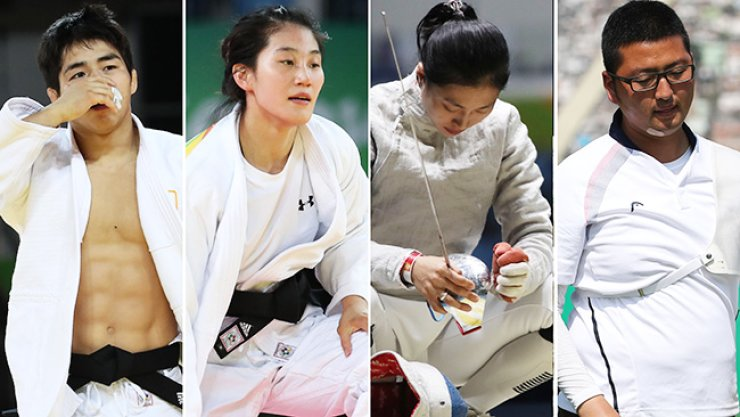 South Korean athletes fail to clinch any medals on day three of the Rio Olympics as strong medal contenders are knocked out in the early rounds. From left are An Chang-rim in the men's -73 kg class, from left, and Kim Jan-di in the women's -57 kg, fencer Kim Ji-yeon in the women's individual sabre, and archer Kim Woo-jin in men's individual archery./ Yonhap