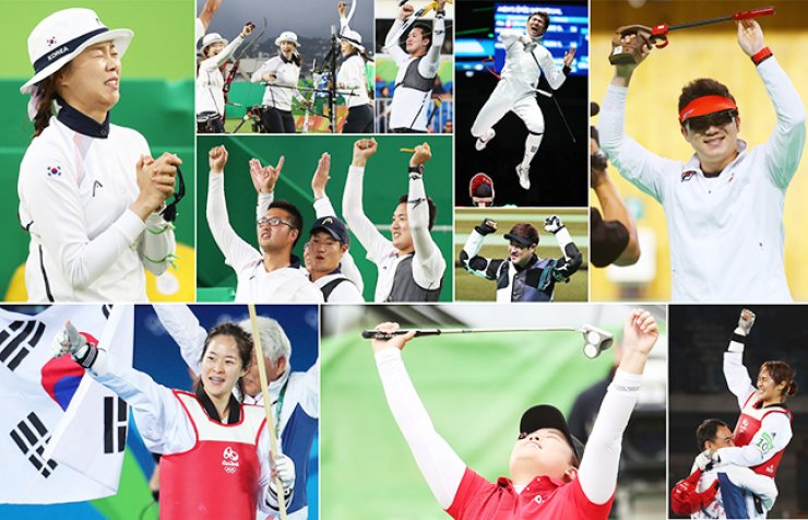 South Korean athletes react after their wins at the 2016 Rio de Janeiro Olympics which have been running since Aug. 5. As of Saturday, the country has collected nine gold medals, three silvers and nine bronzes. In Rio, the country's archers won all four archery events for the first time in Olympic history and female taekwondo athletes bagged two golds. Golfer Park In-bee, shooter Jin Jong-oh and fencer Park Sang-young each clinched gold in their sports. / Yonhap