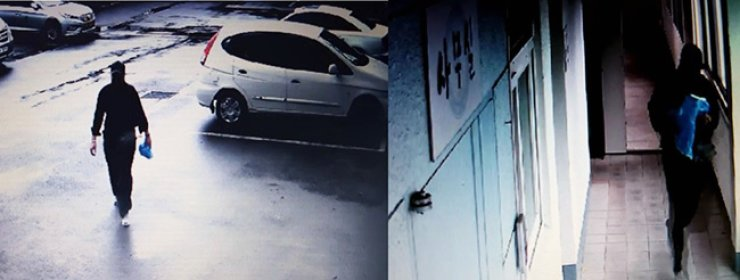 On the left, a Chinese murder suspect enters a chapel on Jeju Island around 8:45 a.m. Saturday. On the right, he leaves the chapel three minutes later, after allegedly stabbing a Korean woman to death. / Yonhap