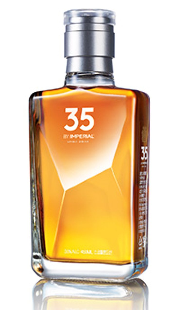 Pernod Ricard Korea's newly introduced spirit, 35 By Imperial, is shown above. The 35 By Imperial has an alcohol by volume (ABV) of 35 percent. / Courtesy of Pernod Ricard