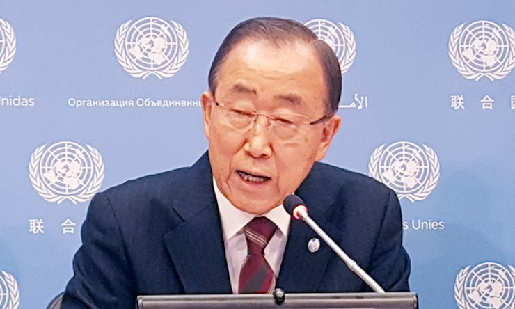 U.N. Secretary-General Ban Ki-moon speaks at a valedictory news conference with Korean correspondents at the U.N. Headquarters in New York, Tuesday. / Yonhap