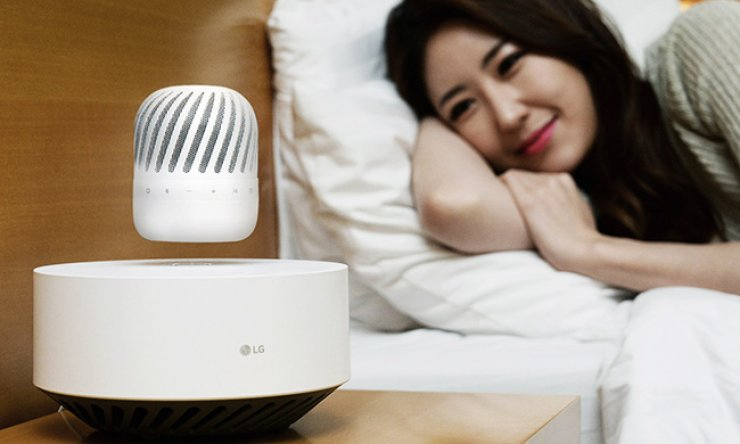Shown above is LG Electronics' floating speaker. The company said Sunday it would unveil the new magnetic-floating Bluetooth speaker at next year's Consumer Electronics Show (CES). / Courtesy of LG Electronics