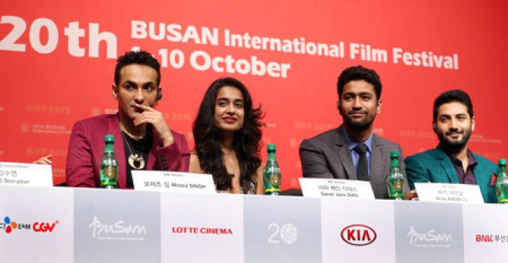 Members of 'Zubaan' attend a press conference at the Busan International Film Festival on Oct 1. From left are director Mozez Sing, actors Sarah-Jane Dias, Vicky Kaushal and Raaghav Chanana. / Yonhap