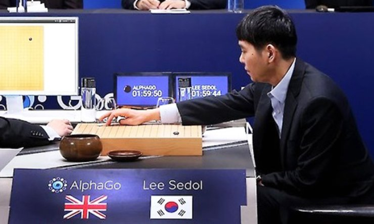 Lee Se-dol, a master Korean go player, places a stone during a match against the Google-developed artificial intelligence (AI) system AlphaGo at the Four Seasons Hotel in central Seoul, in this file photo taken in March 2016. / Yonhap