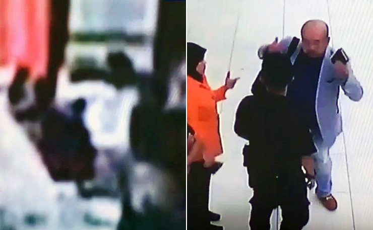 CCTV footage, released by Japan's TBS TV, shows the moment when Kim Jong-nam, the estranged half-brother of North Korean leader Kim Jong-un, was poisoned by two women at Kuala Lumpur International Airport, Feb. 13, and Kim telling airport officials about the attack before collapsing. / Yonhap