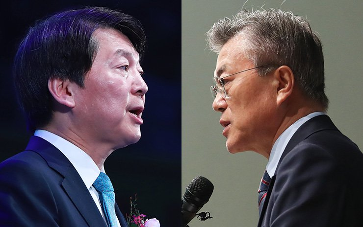 People's Party presidential candidate Ahn Cheol-soo, in the left photo, talks about his campaign pledge on education at a gathering of kindergarten teachers in Songpa-gu, Seoul, Tuesday, while Moon Jae-in of the Democratic Party of Korea discusses how to develop the southeastern parts of the country during a media briefing at the Changwon Exhibition Convention Center in Changwon, South Gyeongsang Province. Both candidates' aides have intensified smear campaigns against the children of the two rivals. / Yonhap