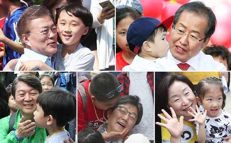 Presidential candidates campaign on Children's Day, Friday. With the election only three days away now, their final campaigning will be centered on wooing voters in Seoul, Incheon and Gyeonggi Province. From top left clockwise are Moon Jae-in of the Democratic Party of Korea, Hong Joon-pyo of the Liberty Korea Party, Sim Sang-jung of the Justice Party, Yoo Seong-min of the Bareun Party and Ahn Cheol-soo of the People's Party. / Yonhap