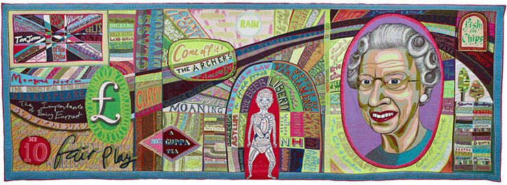 Grayson Perry's tapestry 'Comfort Blanket' / Courtesy of British Council and SeMA