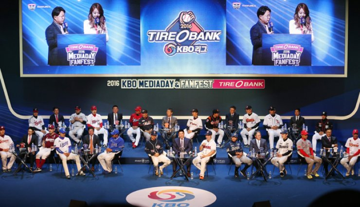 Coaches and players of the ten KBO league clubs attend the media day, Monday. / Yonhap