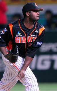 Cory Aldridge, who hit 20 home runs and drove in 73 RBIs for the Nexen Heroes in 2011, is trying to make a return to the KBO.Matt Randel was a star player for the Doosan Bears in themid-2000s and contributed to the team's Korean Seriesappearances in 2005, 2007 and 2008.Lotte Giants starter Shane Youman recently became the center of controversy when Hanwha Eagles' Kim Tae-kyunquipped he couldn't hit the pitcher from Louisiana 'becausehis face was so black and his teeth look so white.'Ryan Sadowski, formerly a front-line starter for the Lotte Giants, was signed by the San Francisco Giants last year.