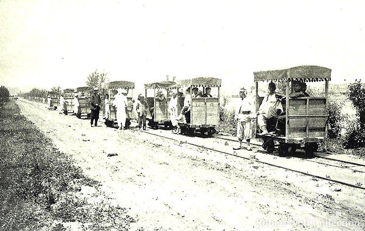 A man-powered railroad in Korea in the Pyongyang region.