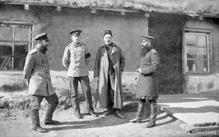 A Russian military adviser with Korean soldiers. Photograph by Isabella Bird Bishop, circa 1897.