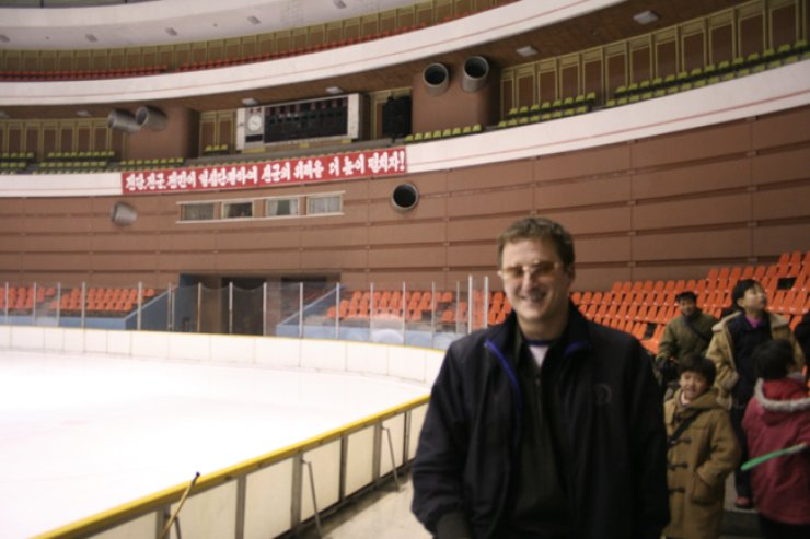 Michael Spavor at an ice hockey rink in North Korea in 2005 / Courtesy of Paektu Cultural Exchange