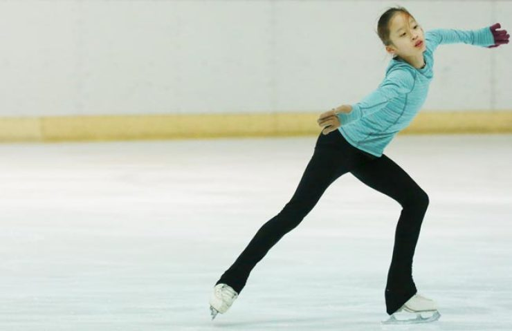 Figure skater You Young practices at the Taereung National Training Center's ice rink in Seoul, Monday. / Yonhap