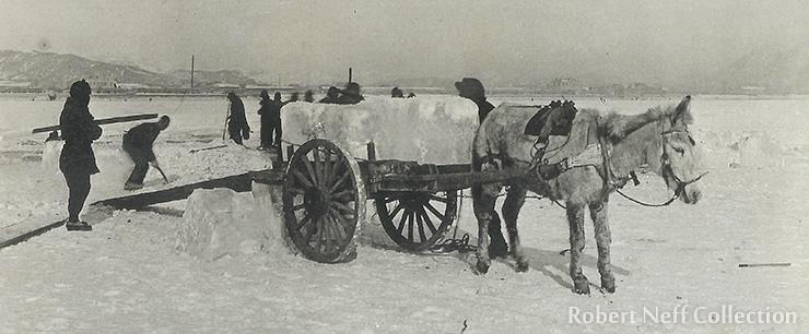 Harvesting ice, circa 1920s.