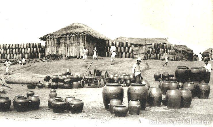 A pottery market circa 1900s.