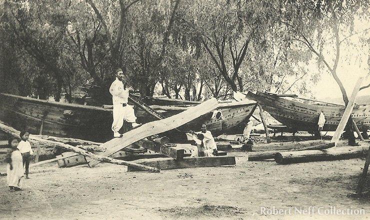 Building a boat, circa 1900-1920s.