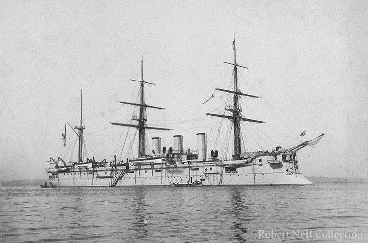 The Pamiat Azova, a Russian warship in Japan, circa 1895.