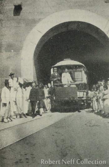 The streetcar garage in Seoul, circa 1899.