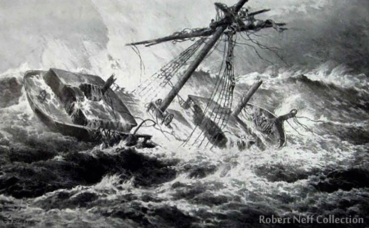 An 1894 engraving of a ship battling a storm.