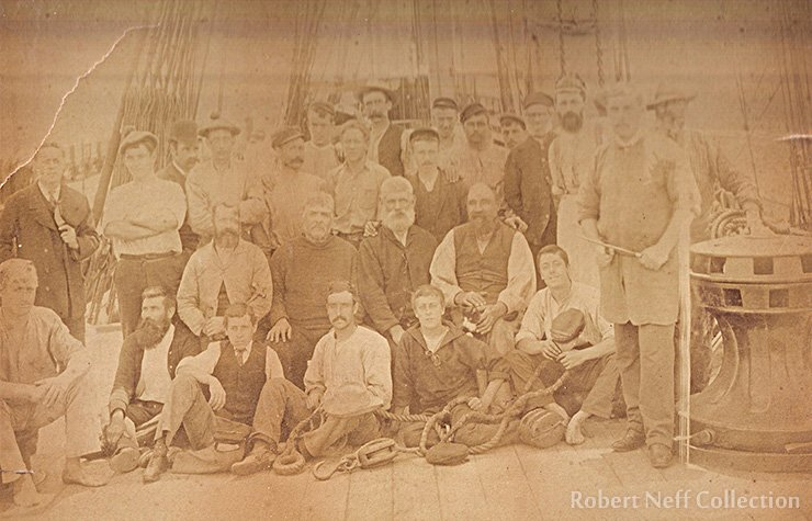 The crew of an unidentified ship in the late 19th century.