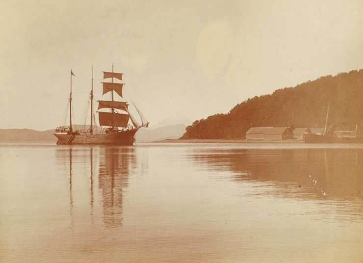 A Russian vessel, photographed by Leonhard Stejneger, circa 1890s. Smithsonian Institution Archives