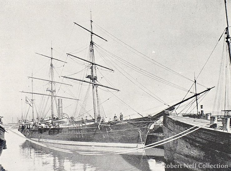 The steam-sealer Alexander, circa 1890s, from Lewis & Dryden's Marine History of the Pacific Northwest, published in Portland, Oregon, 1895.