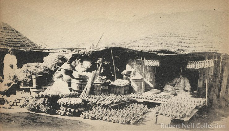 A small shoe shop in a village, circa early 1900s. Robert Neff Collection