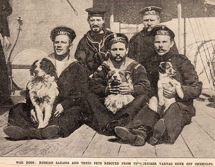 Russian sailors and their canine mascots, circa 1905. Courtesy of Diane Nars