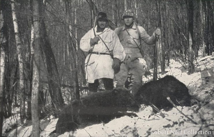 Sten Bergman and V. Jankovski hunting boars in northern Korea in December 1935
