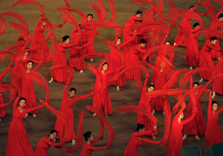 'The Glorious Country' mass games at May Day Stadium in Pyongyang, North Korea, Thursday. North Korea has extended the run of the iconic mass games, which it revived last month to mark the country's 70th birthday. AP