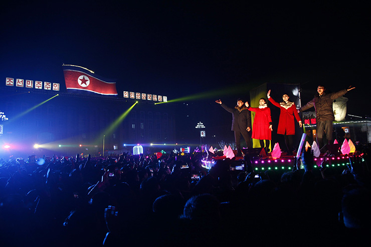 In this photo taken on December 31, 2018, revellers gather for a New Year's eve countdown event and fireworks display on Kim Il Sung Square in Pyongyang. AP