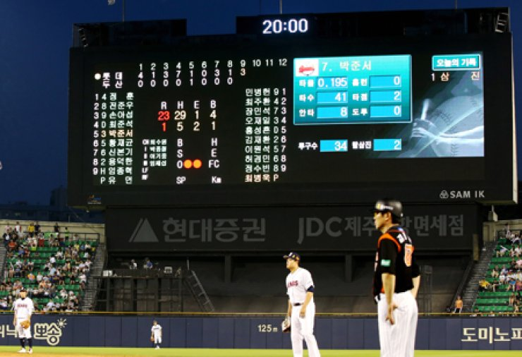 The scoreboard shows that the Lotte Giants 23 runs on 29 hits in a match against the Doosan Bears in Jamsil, Seoul, Saturday. It was the largest number of hits in a game since the Korea Baseball Organization was founded in 1982. / Yonhap