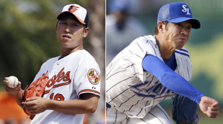 While Triple-A pitcher Yoon Suk-min, left, struggles to adjust to American baseball, Samsung Lions pitcher Lim Chang-yong impressed in his return to Korea after picking up his first win of the season against the SK Wyverns in KBO action on Sunday. / AP-Yonhap
