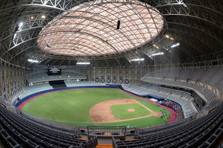 This is a bird's eye view of Gocheok Sky Dome in western Seoul. The organizers of the World Baseball Classic (WBC) announced on Tuesday that early rounds of its baseball tournament in the Asian region will be staged at Gocheok Sky Dome in Seoul and Tokyo Dome in Tokyo in March 2017. / Korea Times photo by Bae Woo-han