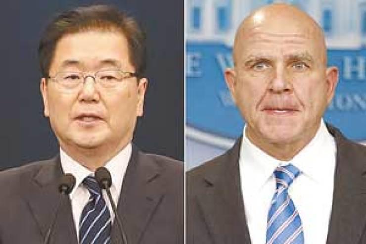 Chung Eui-yong, left, and H.R. McMaster