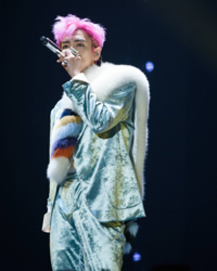 K-pop boy band BIGBANG's rapper T.O.P performs during the M.A.D.E. concert at Gocheok Sky Dome in Seoul, Saturday./ Courtesy of YG Entertainment
