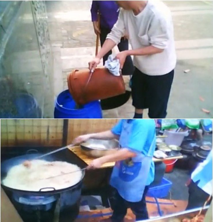 Scenes of 'gutter oil' manufacturing and its being used in a restaurant was recorded and posted on YouTube.