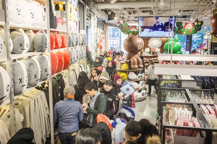 Visitors crowd the Line Friends store in Broadway, New York, where BTS-themed merchandise was released on Dec. 19. / Courtesy of Facebook