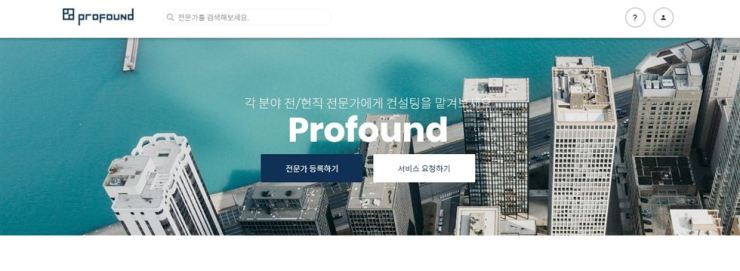 Seen above is a screen capture of Profound's main webpage. The Seoul-based startup operates consultant matchmaking services mainly in Korea. / Courtesy of Profound