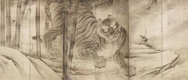 Part of 'Dragon and Tiger six-panel folding screen by Soga Chokuan from 17th century Japan / Courtesy of National Museum of Korea