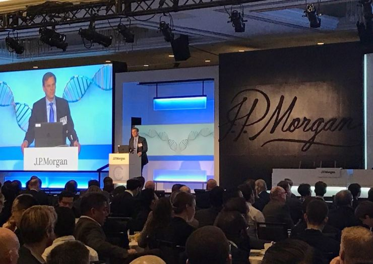 Jeff Stute, global head of healthcare investment banking at J.P. Morgan, delivers a speech at J.P. Morgan Healthcare Conference in January, 2017. / Courtesy of J.P. Morgan