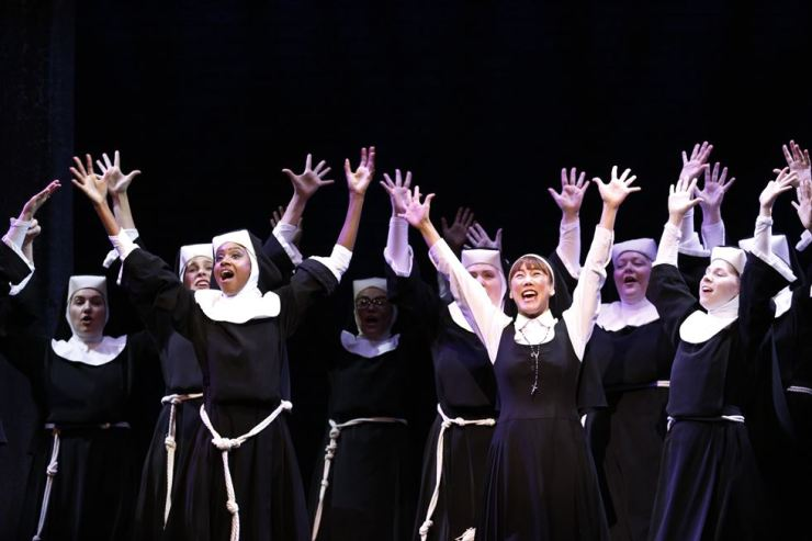 Dene Hill, left in front row, as Deloris Van Cartier and Kim So-hyang as Sister Mary Robert in the international tour of 'Sister Act' / Courtesy of EMK Musical Company