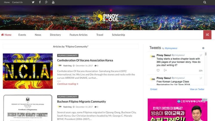 A screen shot of Pinoy Seoul